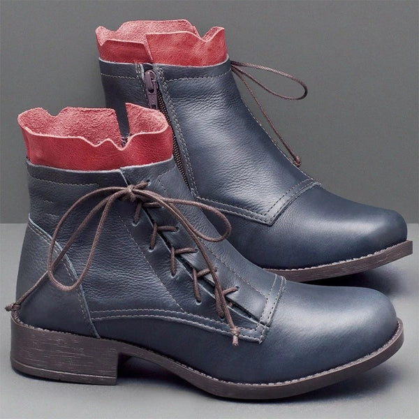 Fashion Lace-Up Low Heel Ankle Boots