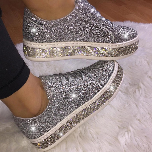 Uellos Fashion Rhinestone Lace-Up Low-Heel Single Sneakers