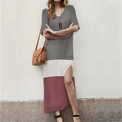 Women Elegant Round Neck Stitching Split Dress