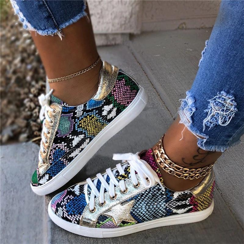 Comfy Daily Lace-up Multi Snake Sneaker