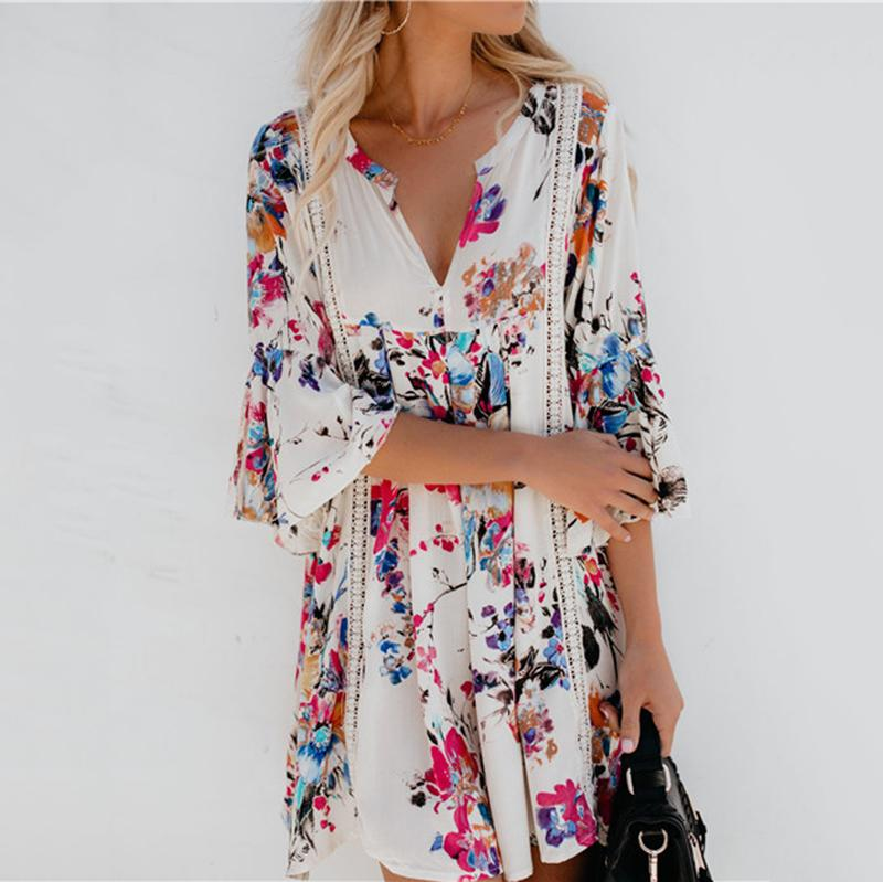 Floral V Neck Half Bell Sleeve Hollow-out Mini Dress