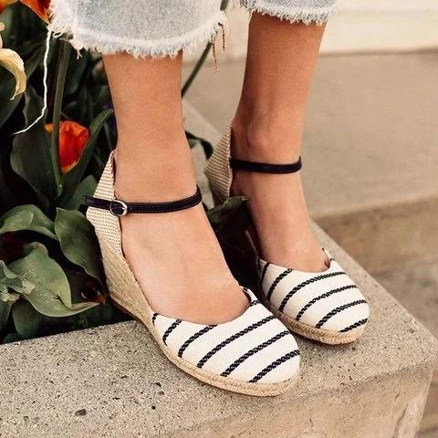 Summer Vintage Wedge Buckle Strap Sandals
