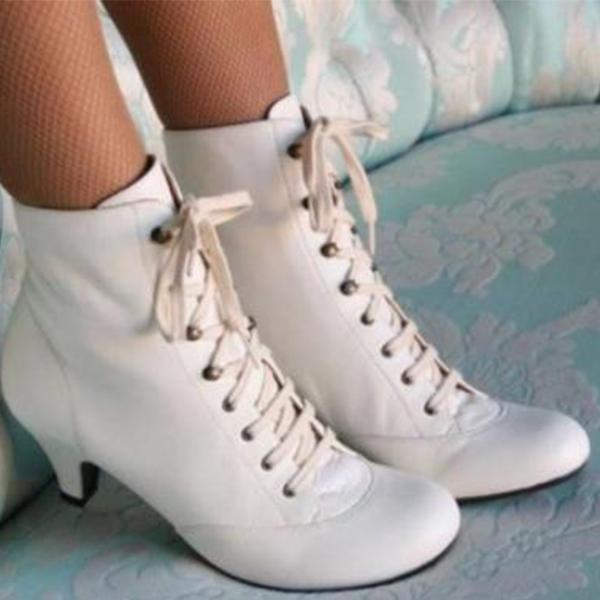 Lace Up Wedding Chunky Heel Boots