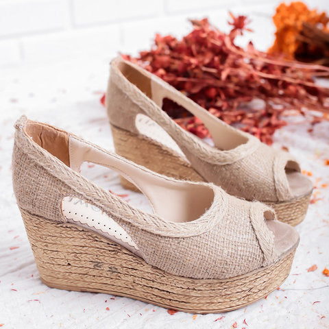 Wedge Heel Peep Toe Summer Sandals