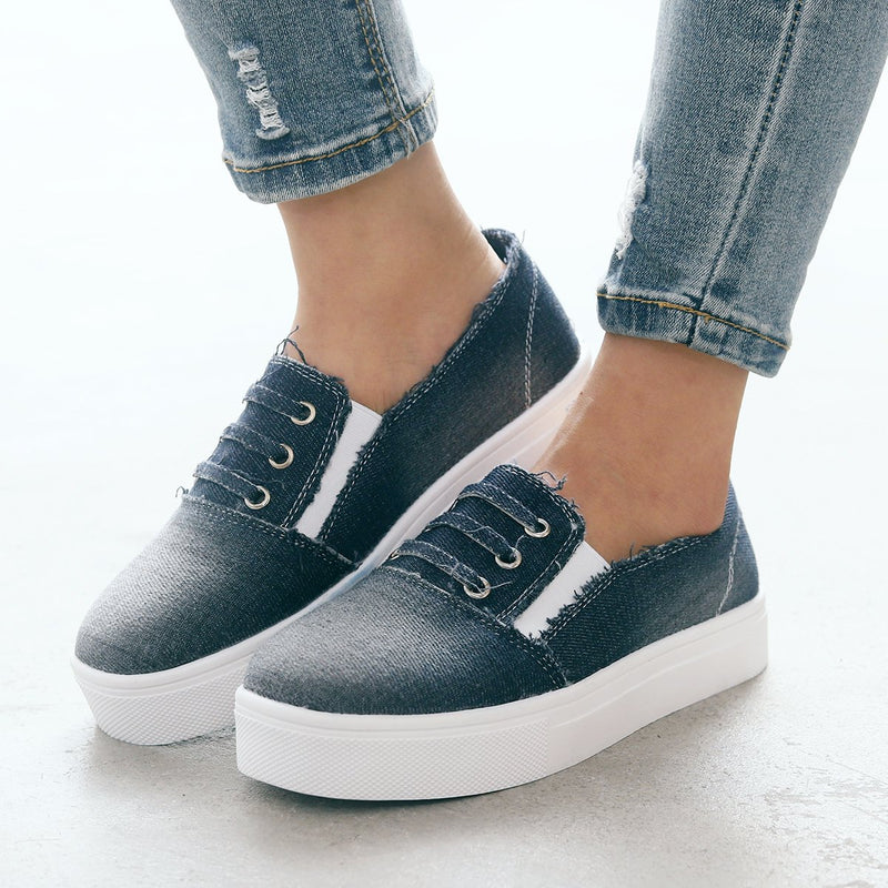 Round Toe Denim Casual Flat Shoes