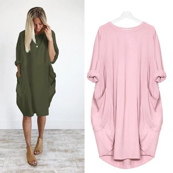 Plus Size Solid Color Loose Dresses