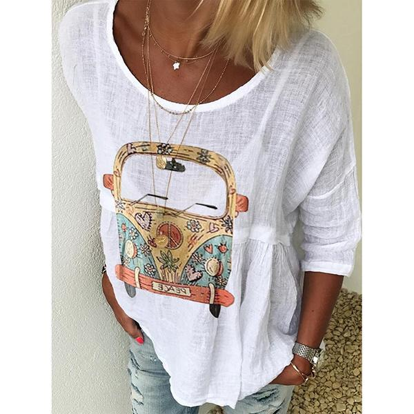 Casual Loose 3/4 Sleeve Round Neck Printed Tops