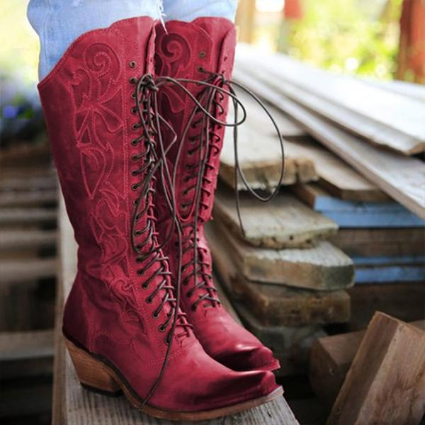 Fashion Lace-up Under Knee Boots