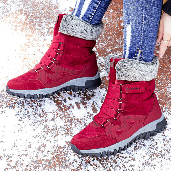 Warm Outdoor Round Toe Flat Heel Magic Tape Snow Boots