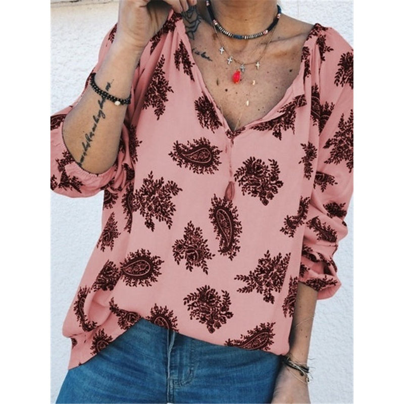 Women Loose Casual V-neck Long-sleeve  Blouses