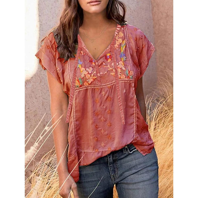 Patchwork Printed Short Sleeves  Boho Blouses