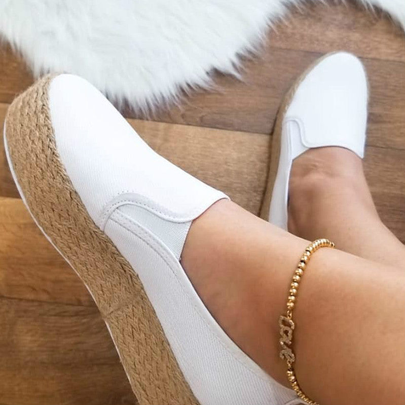 Thick-soled Platform  Women Casual Vintage  Large Size  Lazy Flats
