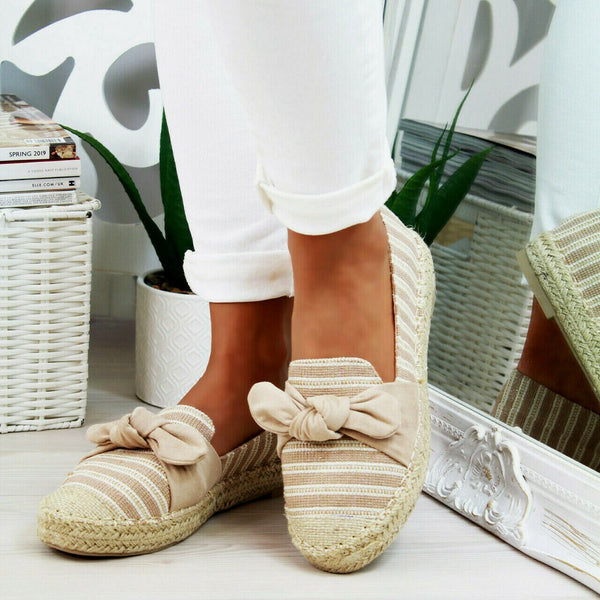 Round Toe Striped Woven Fisherman Shoes