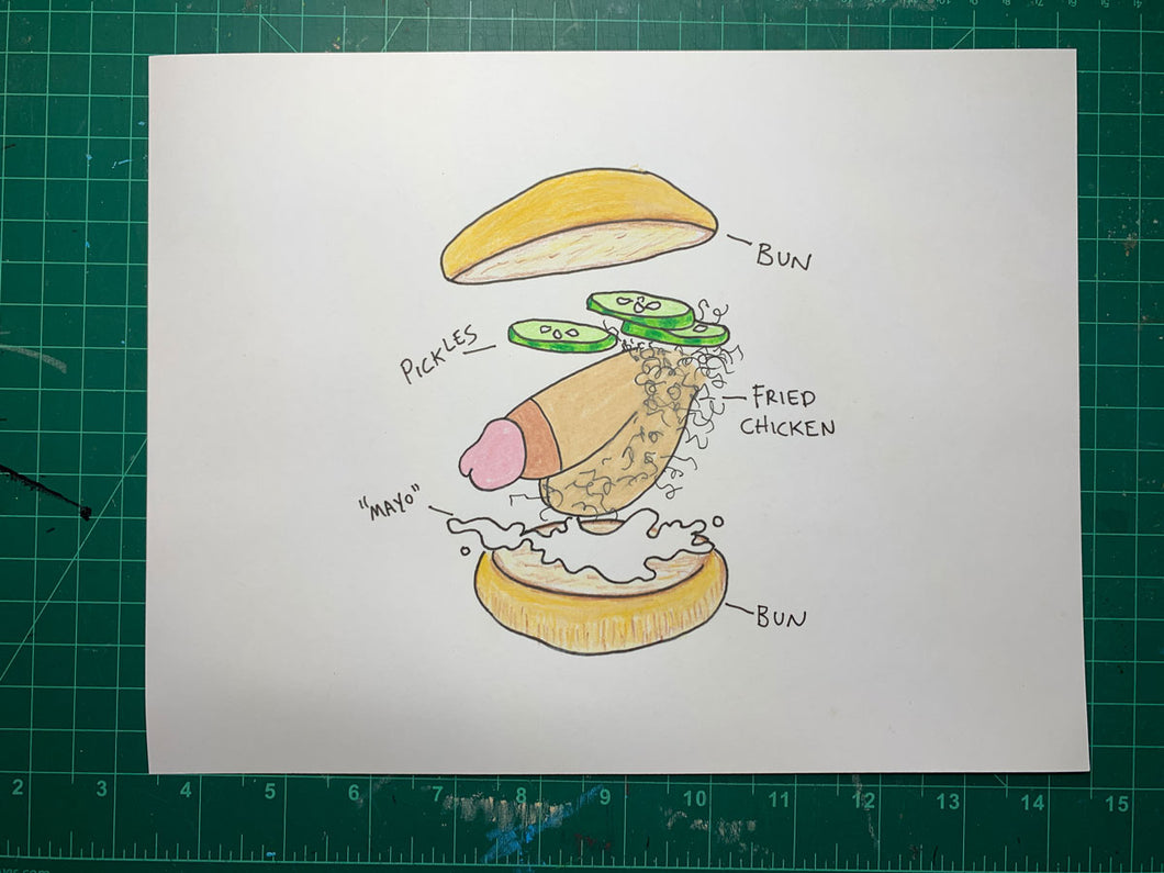 FRIED CHICKEN SANDWICH Original Drawing