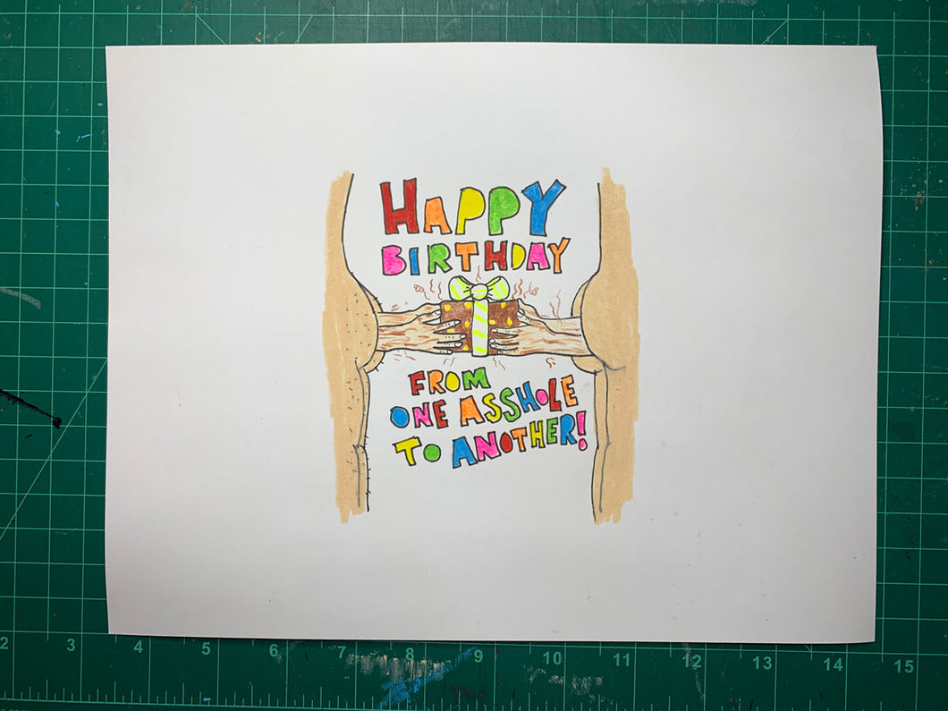 HAPPY BIRTHDAY Original Drawing