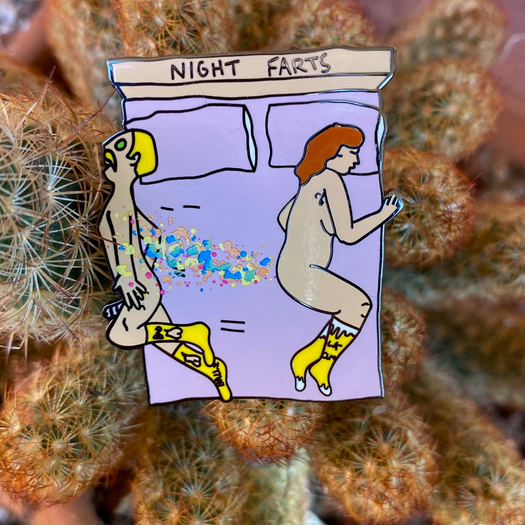 NIGHT FARTS Pin and Sticker