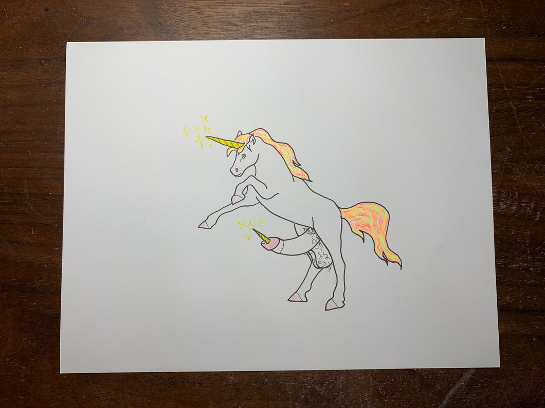 Unicorn Cock Original Drawing
