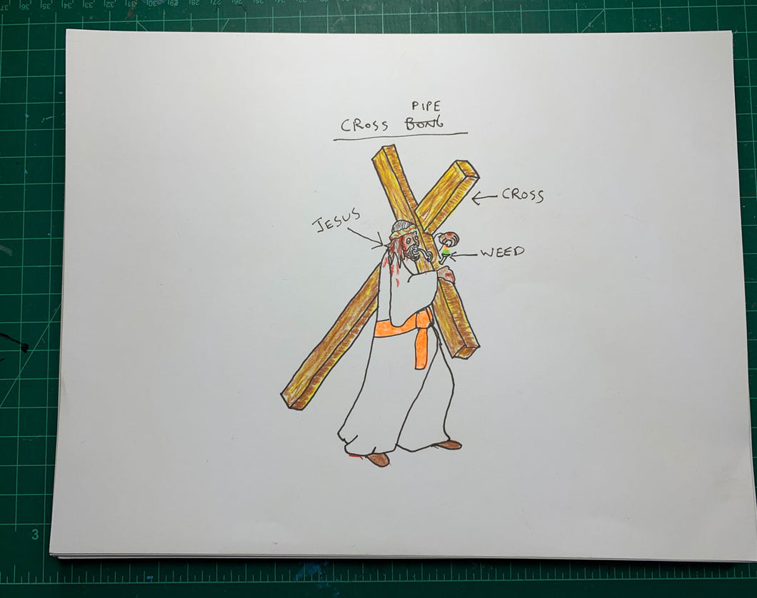 JESUS CROSS BONG Original Drawing