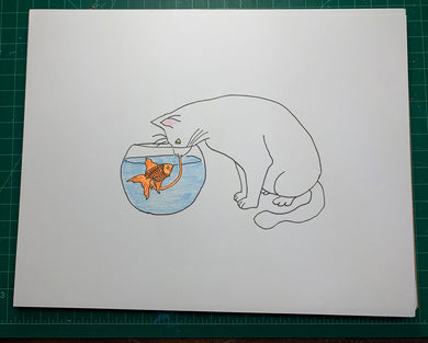 CAT SUCKS GOLDFISH DICK Original Drawing