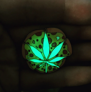 Glow in the dark pizza weed pin