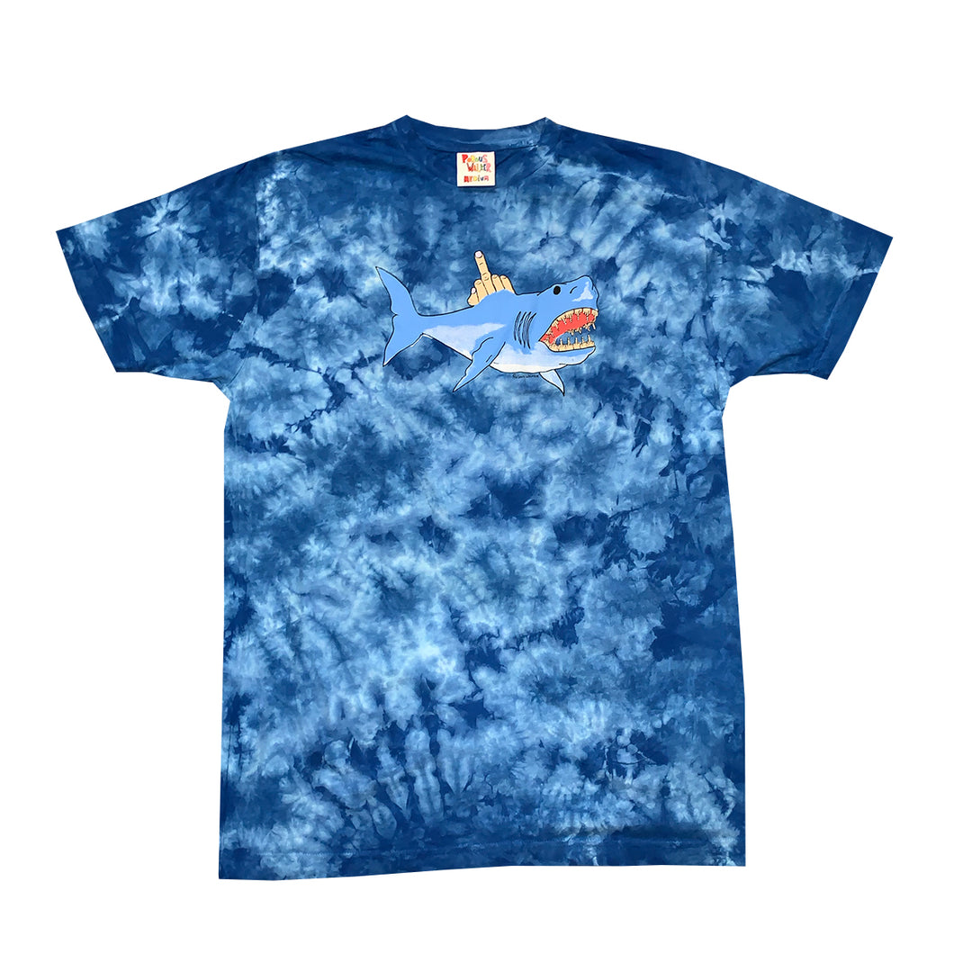 Shark Attack Tee (Blue Tie-Dye)