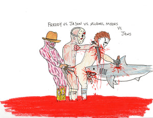 FREDDY VS JASON VS MICHAEL MYERS VS JAWS ORIGINAL DRAWING