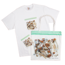 Load image into Gallery viewer, BAG OF SHROOMS TOTE BAG, TSHIRT, STICKER BUNDLE