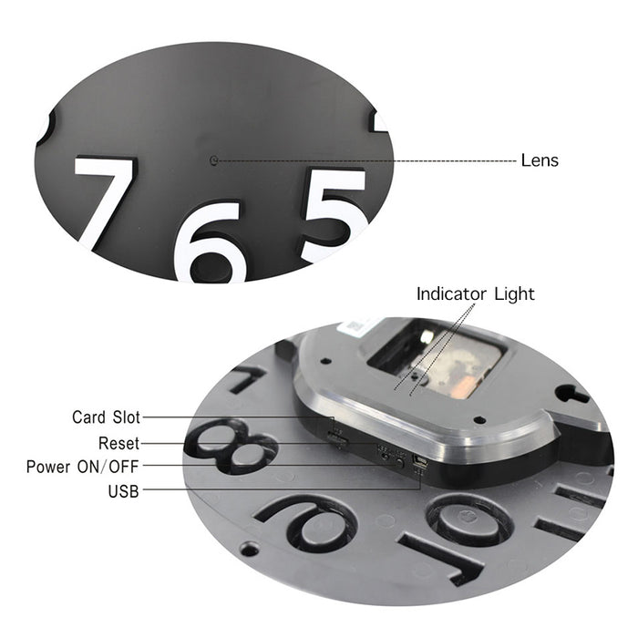 1080P HD Wifi Spy Camera Wall Clock Wide Angle