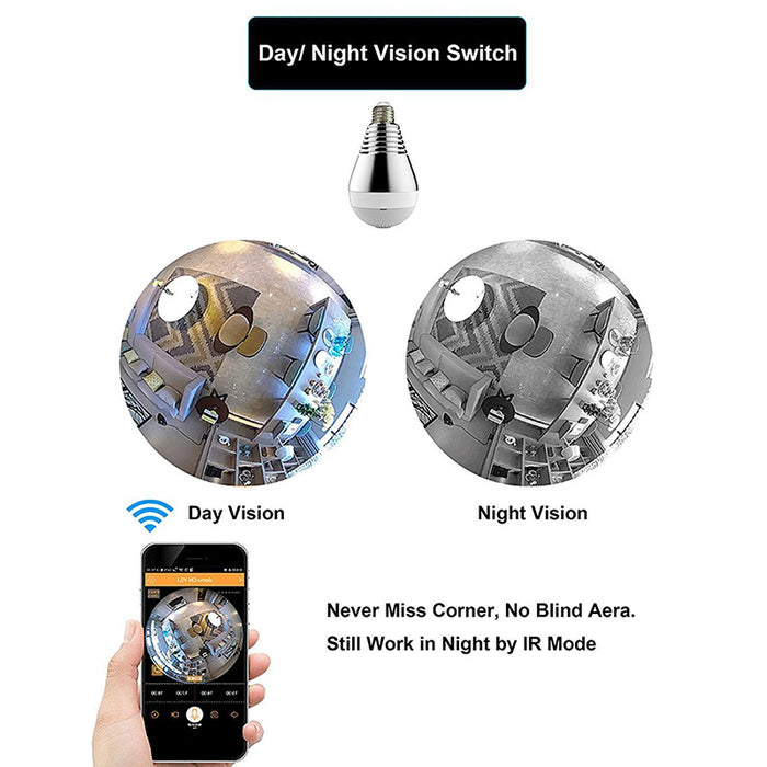 360° Panoramic 1080p WIFI Home HD Hidden Video Recorder Light Bulb