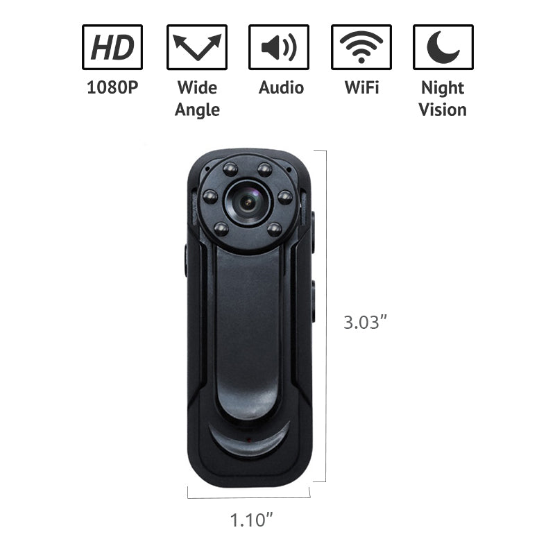 1080p HD Wifi Mini Body Worn Camera with Night Vision