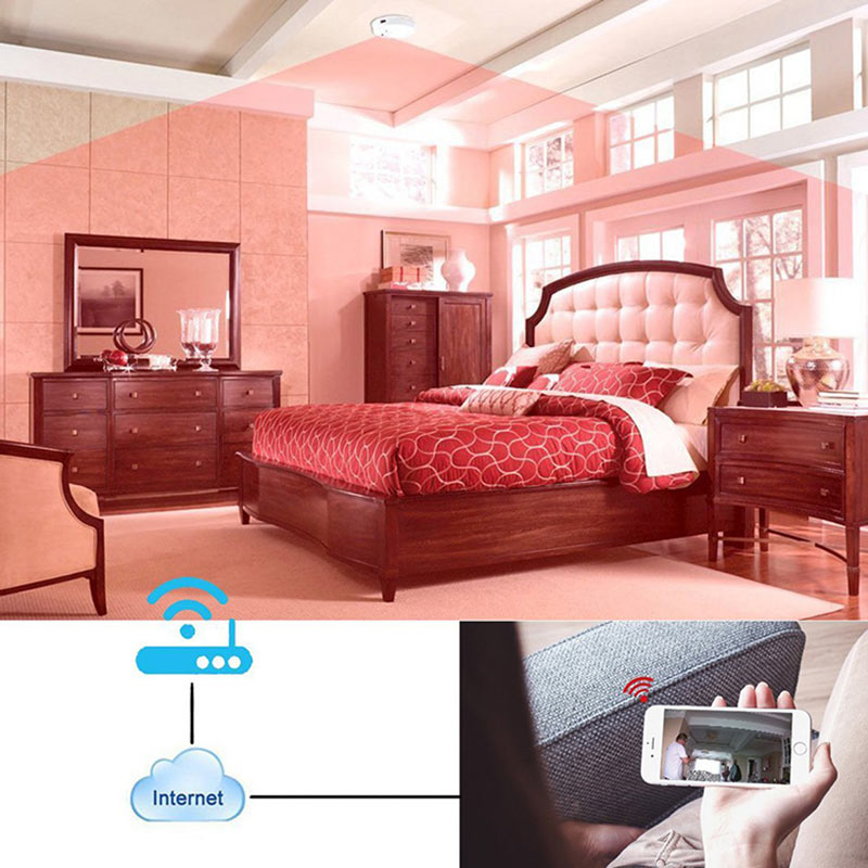 1080p HD Spy Camera Smoke Detector Wifi with Motion Alert