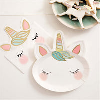 We Heart Unicorn Shaped Paper Party Plates