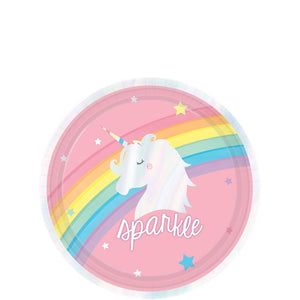 Magical Rainbow Iridescent Paper Dessert Party Plates