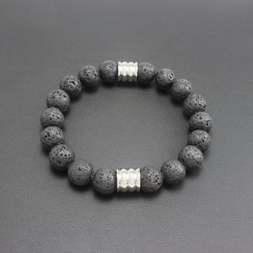 Mens | Lava Rock Stone + Stainless Steel Bracelet