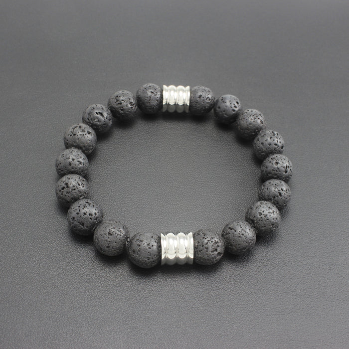 Mens | Lava Rock Stone & Stainless Steel Bracelet