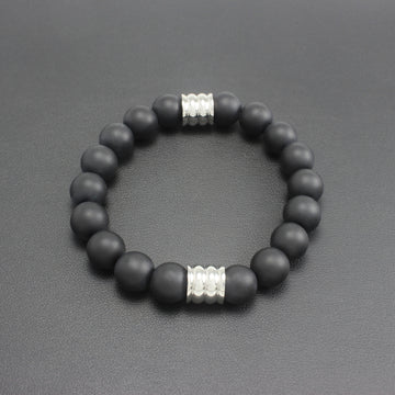 Mens | Matte Black Onyx + Stainless Steel Bracelet