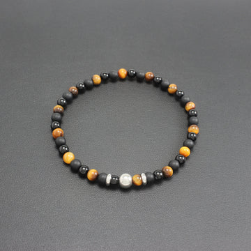 Mens | Slim Onyx + Tigers Eye Bracelet