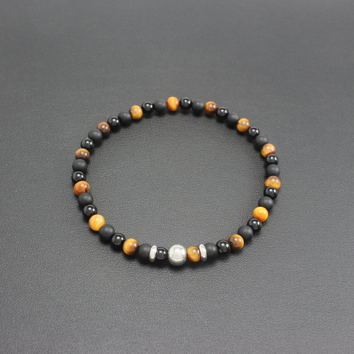 Mens | Slim Onyx & Tigers Eye Bracelet