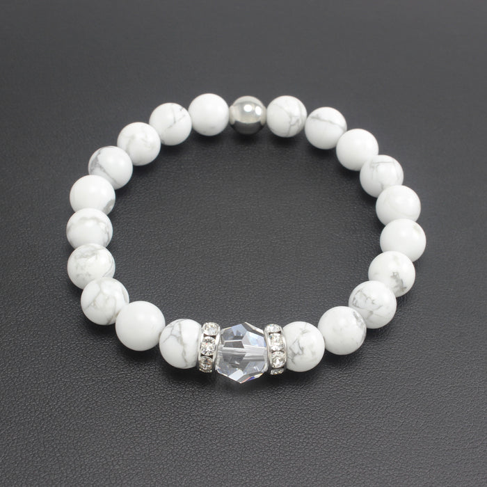 Classical Luxe Gemstone Stretch Bracelet (Howlite)