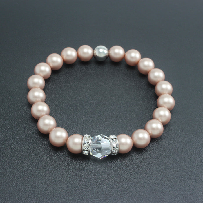 Classical Luxe Swarovski Pearl Stretch Bracelet (Powdered Almond)