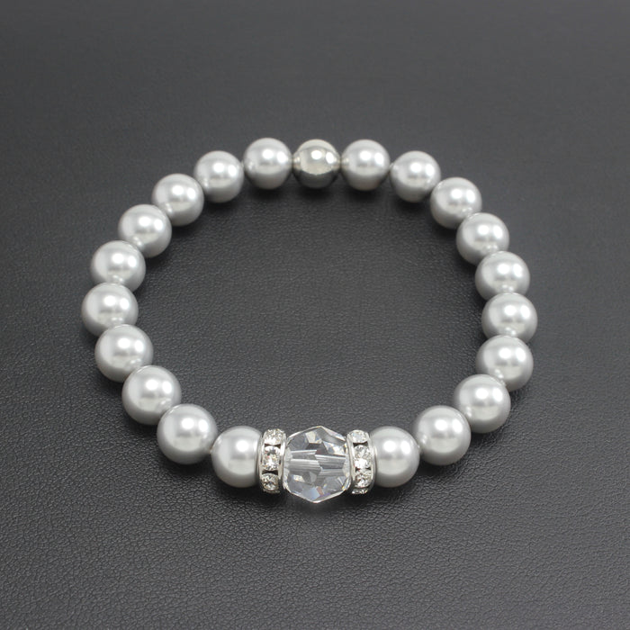 SS19 - Swarovski Crystal & Pearl Stretch Bracelet (Grey)