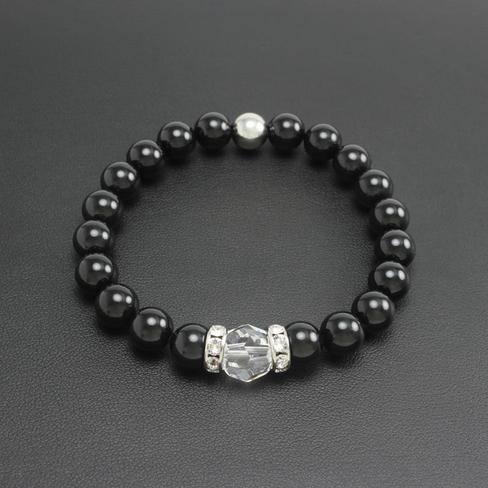 SS19 - Swarovski Crystal & Gemstone Stretch Bracelet (Black Onyx)