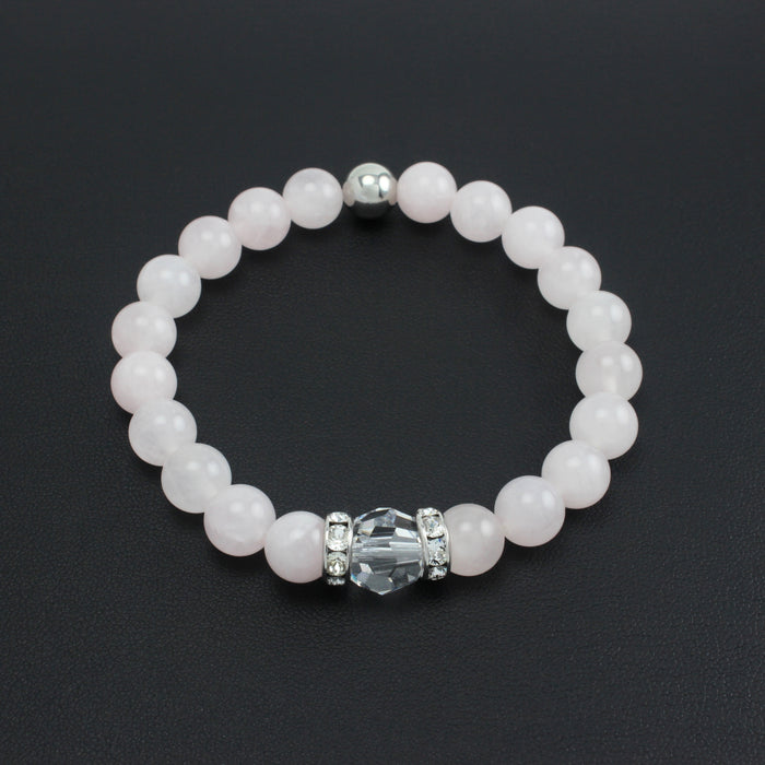 Classical Luxe Gemstone Stretch Bracelet (Rose Quartz)