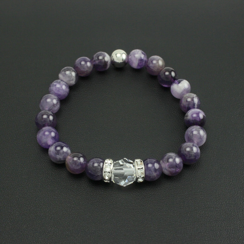 Classical Luxe Gemstone Stretch Bracelet (Amethyst)