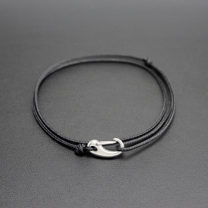 Mens | Micro Cord Adjustable Bracelet in Black