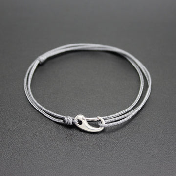 Mens | Micro Cord Adjustable Bracelet in Grey