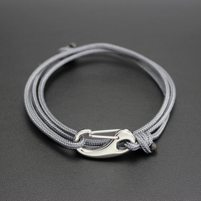 Mens | Tactical Cord & Stainless Steel Bracelet in Grey
