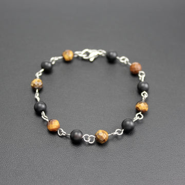 Mens | Stainless Steel, Onyx + Tigers Eye Linked Bracelet