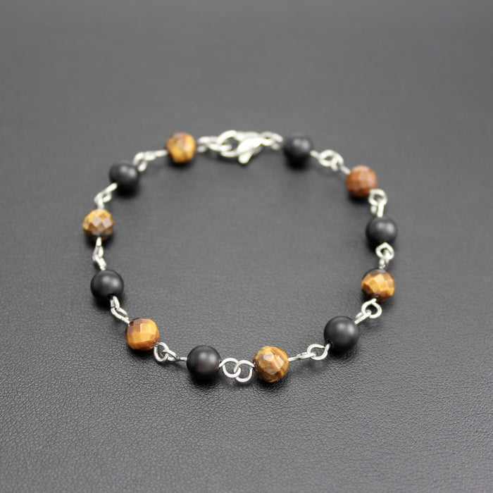 Mens | Stainless Steel, Onyx & Tigers Eye Linked Bracelet