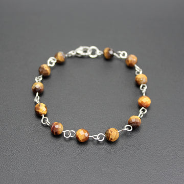 Mens | Stainless Steel + Tigers Eye Linked Bracelet